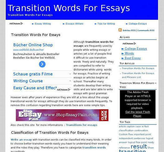 best transition words for essays