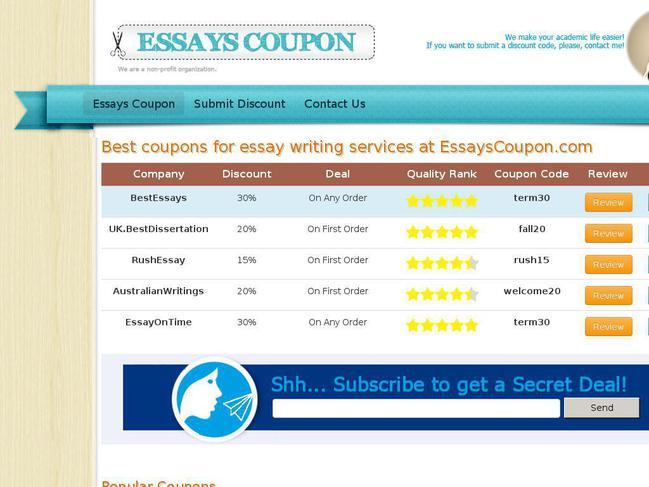 best essays coupon