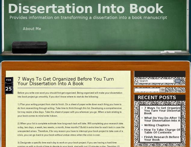 turning your dissertation into a book manuscript Turning your phd into a successful book  – from dissertation to book thomson, p  how taylor & francis editing services can help you improve your manuscript.