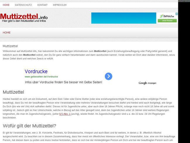 Website Muttizettel Info Created Using Wordpress Theme