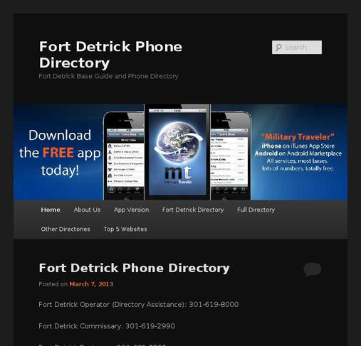 picture of fortdetrickdirectory.com